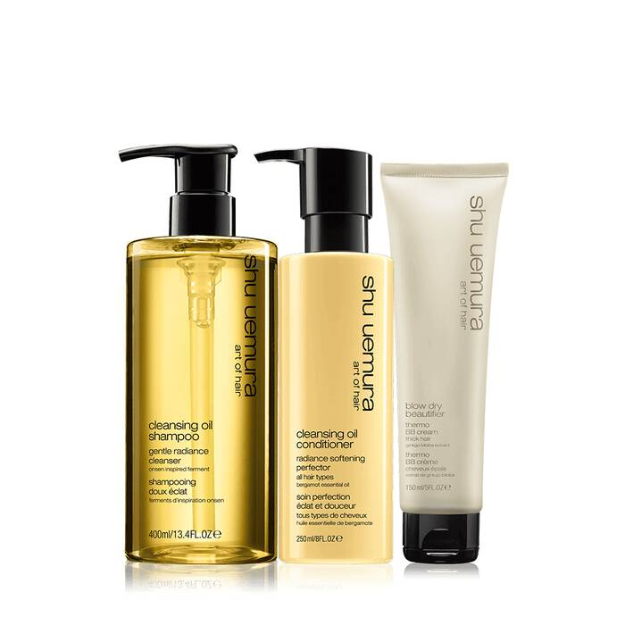 cleansing oil thick hair set