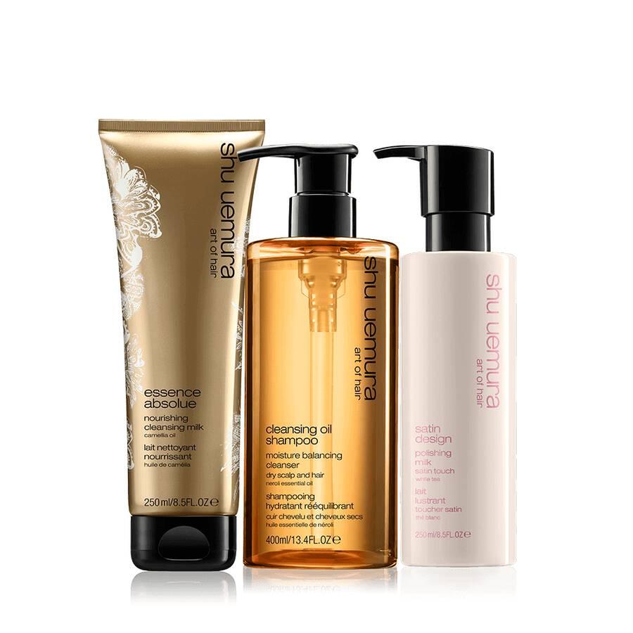 cleansing oil dry hair set